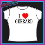 I LOVE HEART GERRARD LIVERPOOL FOOTBALL TSHIRT